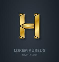 Letter H elegant gold font Template for company vector image