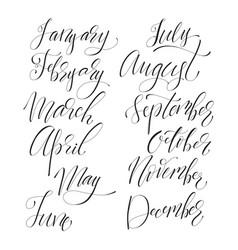 Lettering set of months vector