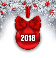 new year background with glass red ball silver vector image