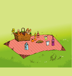 Outdoor picnic in park vector