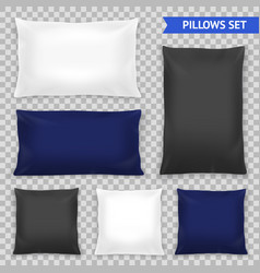 Realistic pillows top transparent set vector