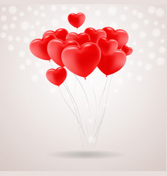 red festive balloons in shape of heart isolated on vector image vector image