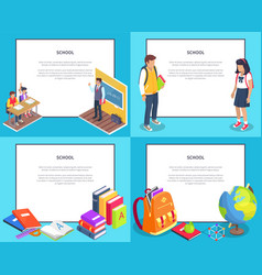 school 3d set with various icons vector image