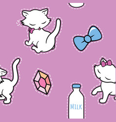 Seamless pattern with cute kitty stickers isolated vector