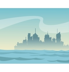 Silhouette panorama city and river background vector