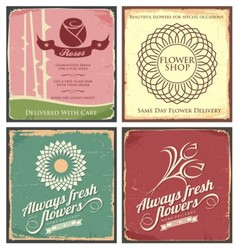 Vintage set of metal tin signs for flower shop vector image
