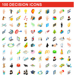 100 decision icons set isometric 3d style vector image
