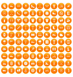 100 sneakers icons set orange vector
