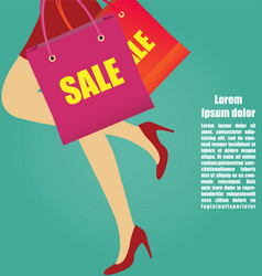 Women legs with high heels running with shopping vector