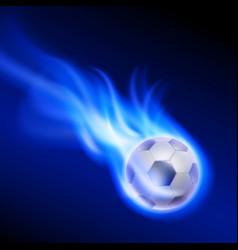 Burning football on blue fire vector
