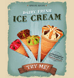 grunge and vintage ice cream cones poster vector image
