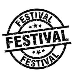 Festival round grunge black stamp vector