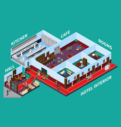 Hotel interior isometric design vector