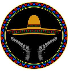 Sombrero and two pistols vector
