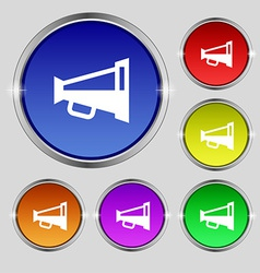Megaphone soon loudspeaker icon sign round symbol vector