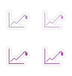 Set of stylish sticker on paper economic graph vector