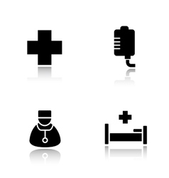 Hospital drop shadow icons set vector