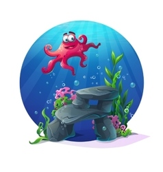 Underwater cartoon comic octopus on rocks in ocean vector