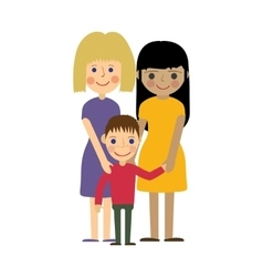 Lesbian family with kid gay parenting vector