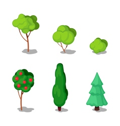 Isometric trees city plants set vector