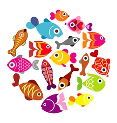 fishes circle vector image