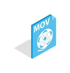 Mov video file extension icon isometric 3d style vector