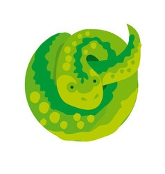 Green snake in circle simple vector
