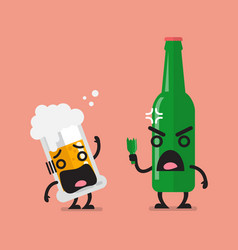 Angry beer bottle with glass of beer character vector