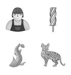 Animal cooking and other monochrome icon in vector