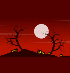 At night landscape halloween with pumpkin vector
