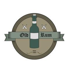 bottle emblem in old style vector image vector image