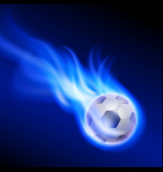 Burning football on blue fire vector