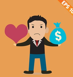 Cartoon Businessman with love and money - - vector image