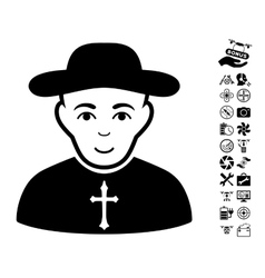 Christian priest icon with air drone tools bonus vector