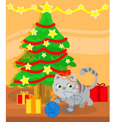 christmas tree and cute kitty cat vector image