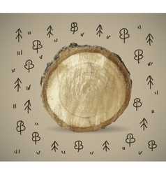 Forest and wood nature object with doodles vector image