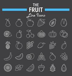 Fruit line icon set food symbols collection vector