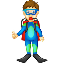 funny divers cartoon standing with smiling vector image vector image