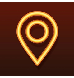 Glowing golden icon Pointer symbol vector image