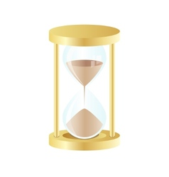 gold hourglass icon on white background vector image vector image