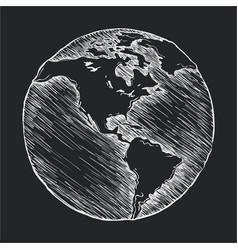 hand drawing line icon globe outline drawing vector image vector image