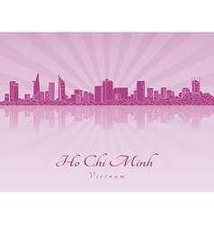Ho chi minh skyline in purple radiant orchid vector