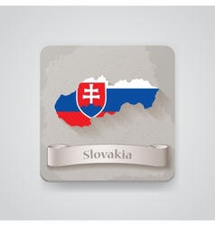 Icon of slovakia map with flag vector