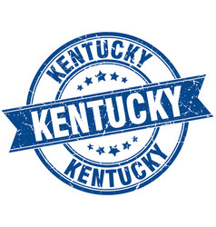 Kentucky blue round grunge vintage ribbon stamp vector