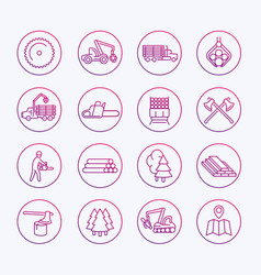 Logging icons sawmill forestry equipment vector
