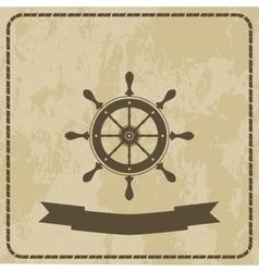 marine helm steering wheel on grunge background vector image vector image