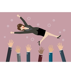 People throw a business woman in the air vector image vector image