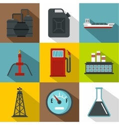 Petroleum icons set flat style vector