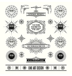 set of art deco retro vintage frame badge vector image vector image