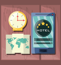 Smartphone with map to destination of travel vector